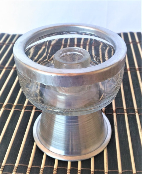 Porta Vela Comum Transparente Base Alumínio Castiçal Seguro