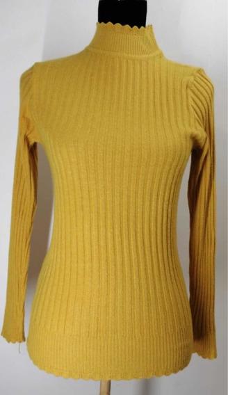 Blusa/suéter Color Mostaza (m) Manga Larga,cuello Alto Fino