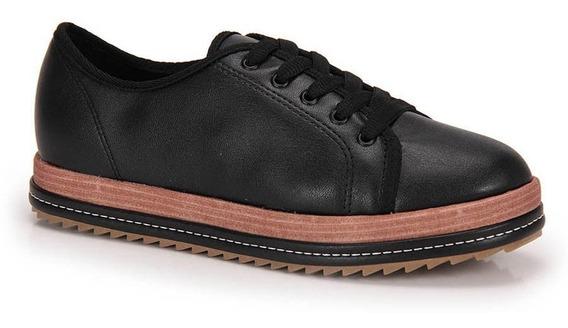 Sapato Tratorado Conforto Beira Rio Preto