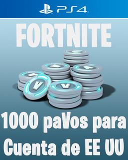 1000 Pavos V-bucks Fortnite Fornite Ps4 Para Cuenta De Eeuu