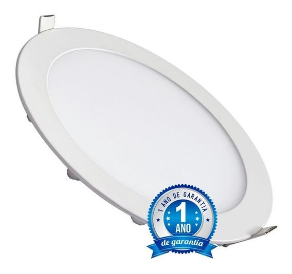 Kit 5 Painel Plafon 18w Led Redondo Embutir Branco Frio
