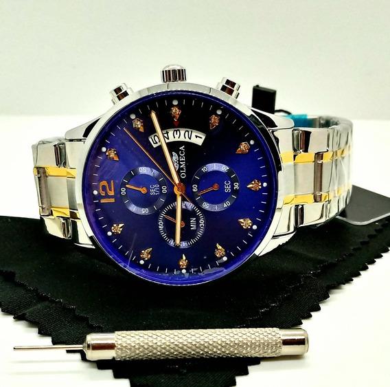 Relógio Masculino Prateado Funcional Fundo Azul Black Friday