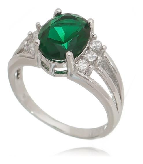 Anel Verde Esmeralda Pedra Pedra Luxo Lançamento