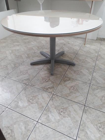 Mesa Escritório Redonda 1,38 De Diâmetro C/ Tampo De Vidro