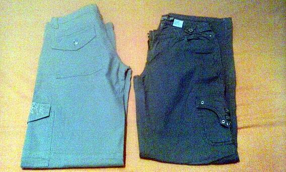 2 Pantalones Casuales Para Dama Color Verde Oliva Y Beige