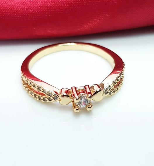 Anel Solitario Feminino Diamante Sintético Banhado Ouro 18k