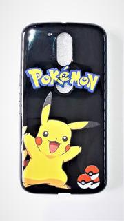 Capinha Moto G3 G4 Pikachu Pokemon Case Capa Rosa Preta