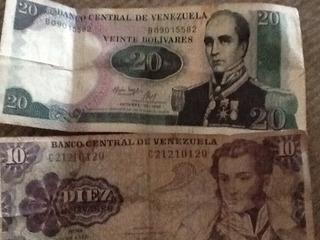 Billetes De 10 Y 20 Bolivares Coleccion