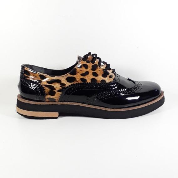 Zapato Mujer Charol Animal Print Base De Goma Eva