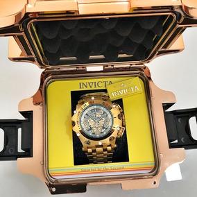 Relógio Masculino Invicta Venom Hybrid Skeleton Dourado Luxo