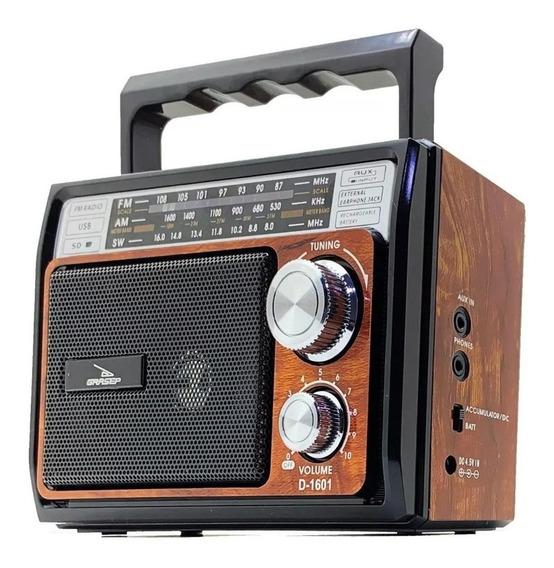Rádio Retrô Portátil Vintage Fm Am Sw Usb P2 Sd Recarregável