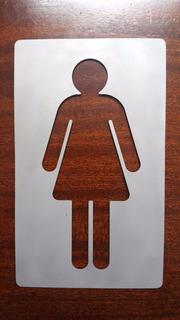 Señal Cartel Mujer Acero Inoxidable Baño 20cm X 12cm Fabrica