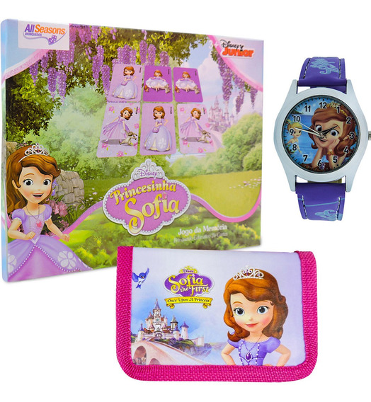 Princesa Sofia Relógio De Pulso + Carteira + Jogo Da Memória