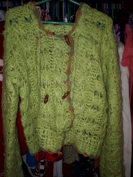 Casaco De Tricô C/ Capuz Feito À Mão G Verde - Seminovo
