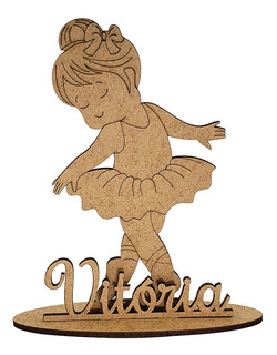 20 Kit Festa Mdf Bailarina + Nome 15 Cm Laço Festa Mdf