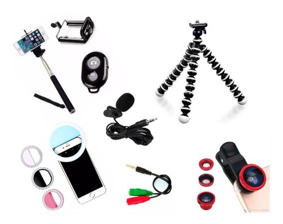 Kit 7x1 Vlog Motorola Tripé, Bastão, Mic, Flash, Lentes E +