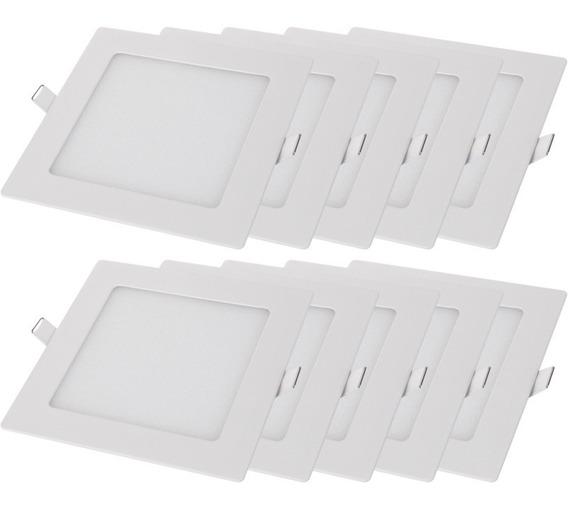 Kit 10 Luminárias Quadrado Embutir 18w Branca Good Lighting