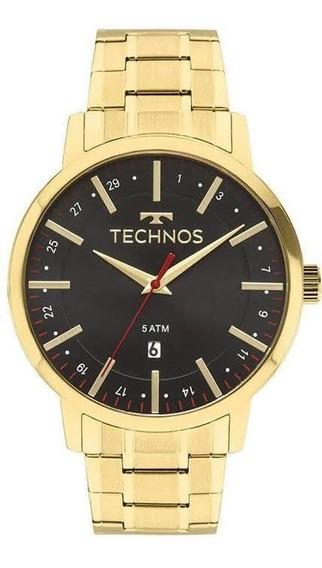 Relógio Dourado Masculino Technos Original Steel 2115mmk/4p