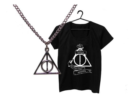 Pack Harry Potter Collar Reliquias + Remera Negra Serigrafia