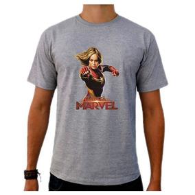 Camiseta Cinza Super Héroi Capitã Marvel Vingadores Brie 03