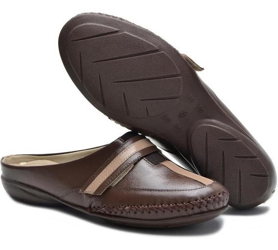 Sapato Feminino Mule Babuche Em Couro Ana Flex Frete Grátis