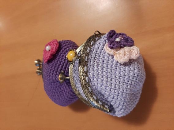 Monedero Crochet Vintage Con Pellizco (grande)