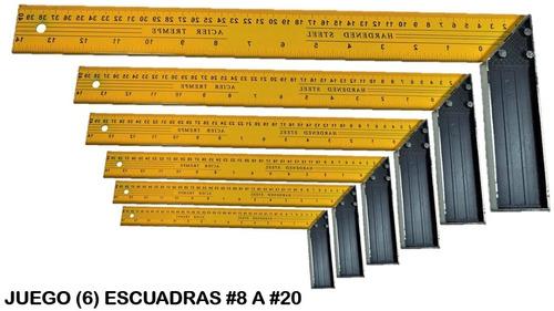 Juego 6 Escuadras Metálicas Carpintero #8 A #20 Pulgadas