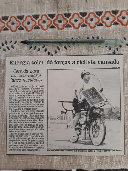 Recorte Jornal Matéria Protótipo Bicicleta Solar Heinrich Ne
