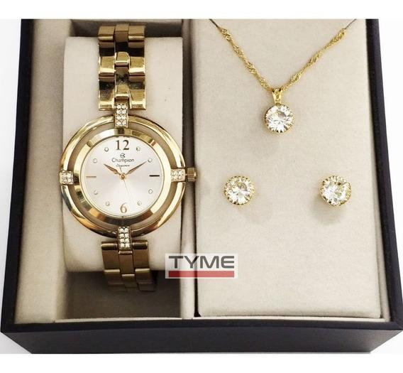 Relógio Champion Elegance Feminino Dourado + Kit Cn25421w Nf