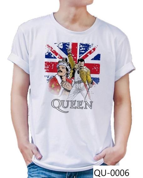 Playera Queen Freddie Mercury Arte Con Bandera Rock Qu-0006