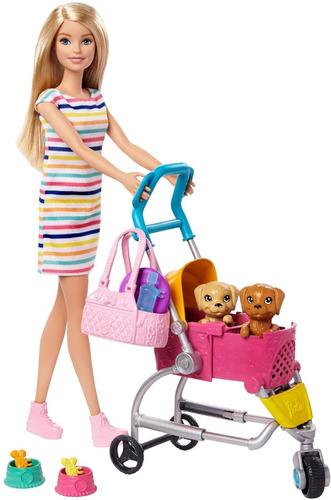Barbie Paseo 2 Cachorros Y Coche Carriola  Mascotas