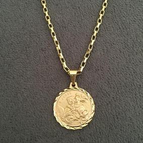Cordão Veneziana 3mm + Med De São Jorge Banhado A Ouro 18k