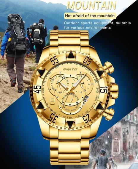 Relógio Gimto Big Dial Dourado Original Com Box