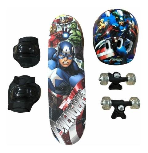 Skate Infantil Vingadores C/ Kit Proteção Avengers Menino