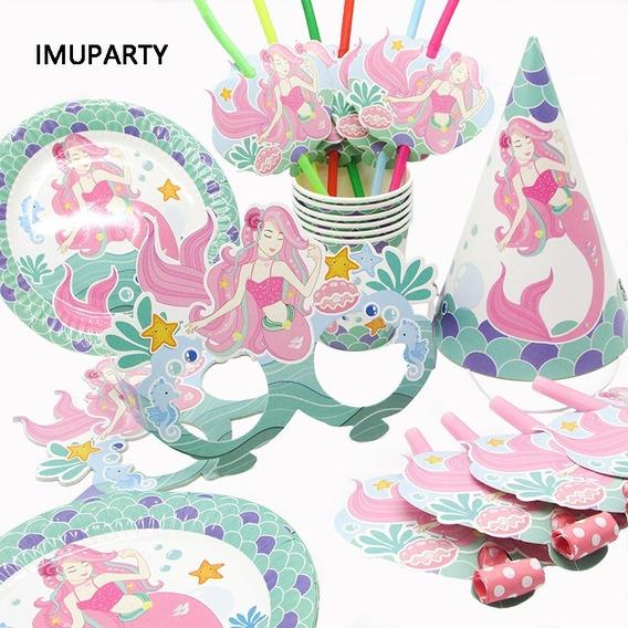 Set Cumpleaños Sirena Cotillon Niñas Nena Fiesta Infantil