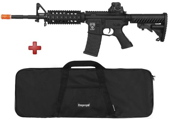 Airsoft Elétrico Rifle Aps M4 Ris Blow Back Metal + Capa