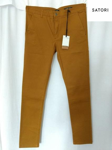 Pantalón Gabardina Recto Elastizado Hombre Beige,bordo,marro