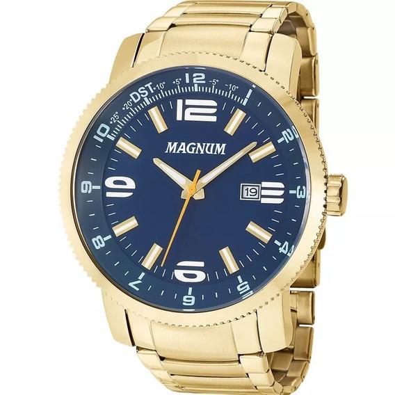 Relógio Masculino Magnum Dourado Azul Ma33095a Original