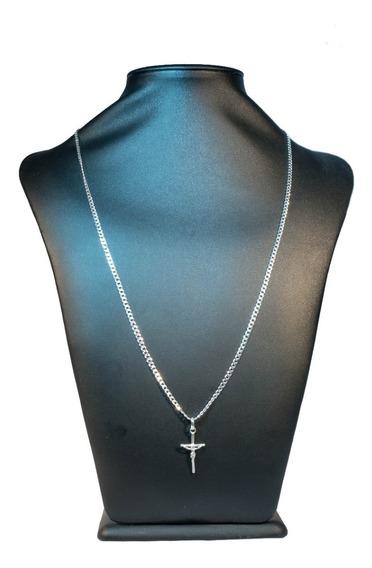 Cordão Fino 3mm Masculino Prata Grumet Com Crucifixo Luxo