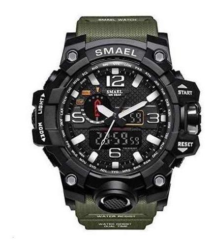 Relógio Smael Militar Preto E Verde+brinde