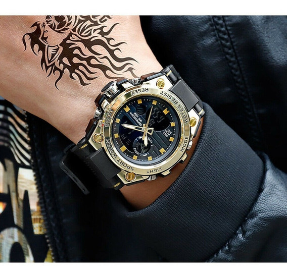 Relógio Masculino Militar Dourado Prova D