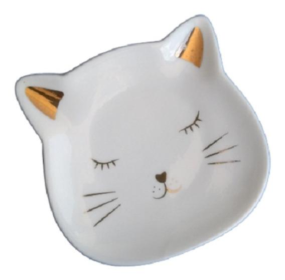 Mini Porta Anel Joia Brinco Biju Porcelana Porta Treco Gato