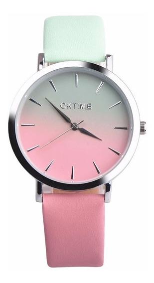 Relógio Feminino Oktime Degradê Pulseira 2 Cores Nova Moda
