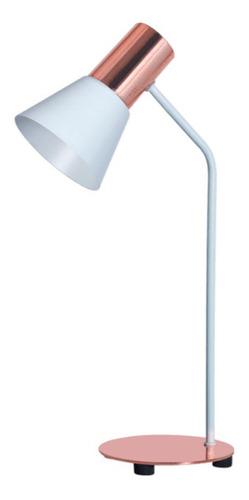 Lámpara Escritorio Con Pantalla Embudo / Color Blanco-cobre