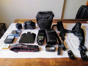 Canon T5i; Lente Canon 50mm; Flash E Acessórios