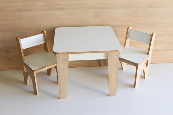 Mesa Infantil Madeira Mdf - Refeições Atividades 2 Cadeiras
