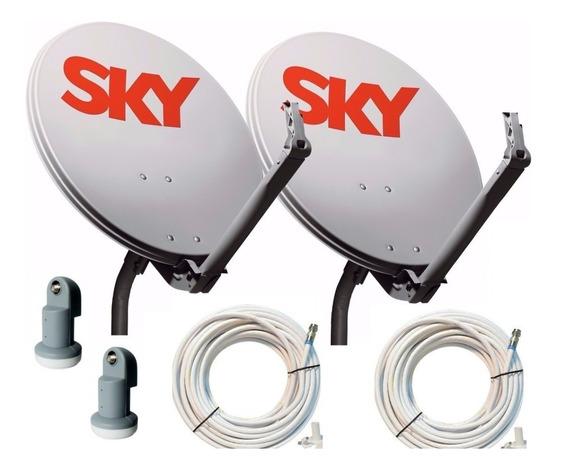 Antena Banda Ku 60cm 2antena E 2lnb E 30mts Cabo
