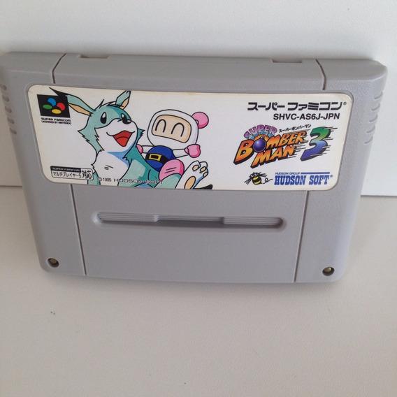 Cartucho Super Bomberman 3 Original - Super Nintendo - Snes
