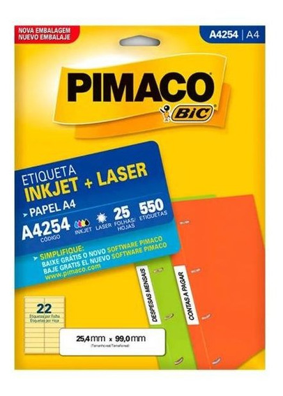 Etiqueta Pimaco Inkjet + Laser 25,4mm X 99,0mm 25 Folhas