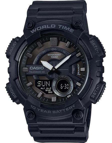 Reloj Casio Analógico Telememo Con World Time 50 Mm Negro